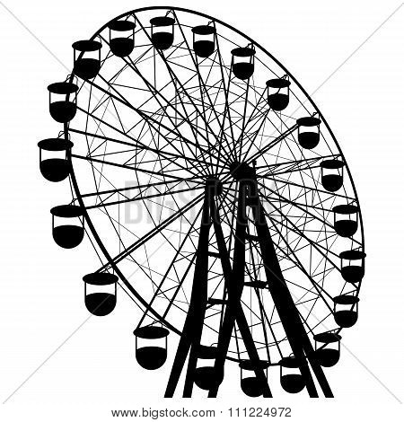 Silhouette Atraktsion Colorful Ferris Wheel. Vector Illustration