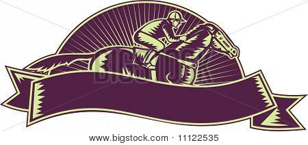 horse and jockey racing  woodcut