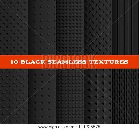 Set of Ten Black Seamless Textured Patterns. Vector illustration, eps10.
