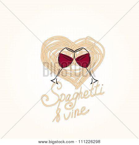 Hand drawn doodle illustration of italian spaghetti.