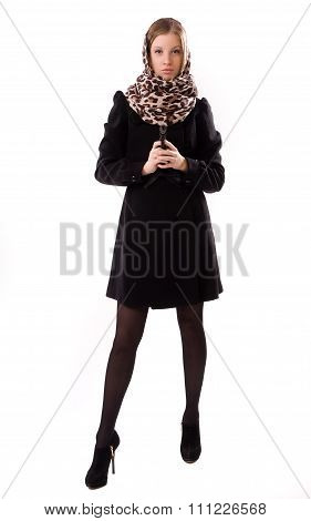 Spy Girl In A Black With Gun