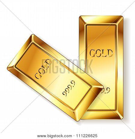Golden Bars On White. Vector