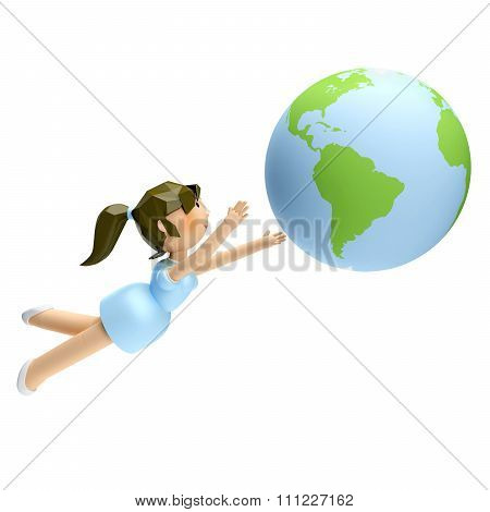 3D Render Of Smiling Beautiful Woman Looking At The Earth In Her Hand