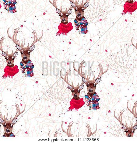 Beautiful Deer Wearing Winter Scarves Seamless Vector Print