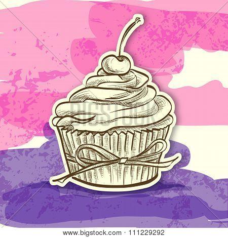 sticker colorful cake