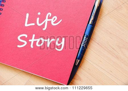 Life Story Write On Notebook