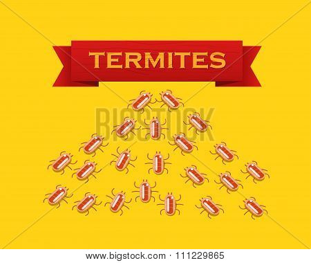 Red Colony Of Termites. Vector Flat Style Illustration.