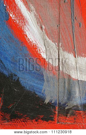 Brushstroke - White, Blue And Red Acrylic Paint  On  Metal Surface