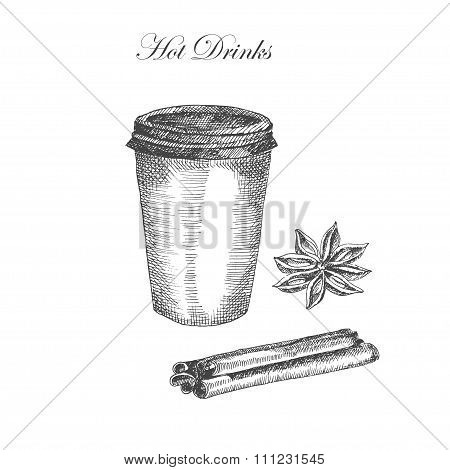 vector hand drawn ink sketch of coffe, cinnamon, anise. detailed food drawing for autumn illustratio