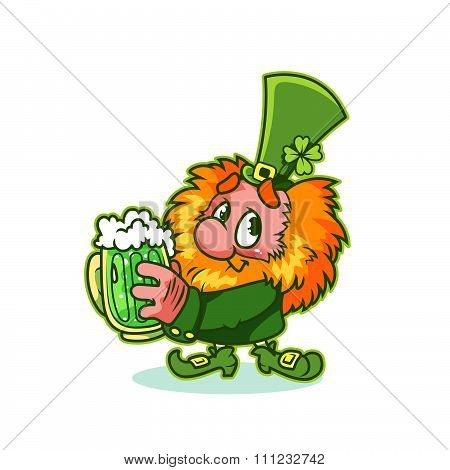 Shy Leprechaun In Green Costume With Mug Green Beer.