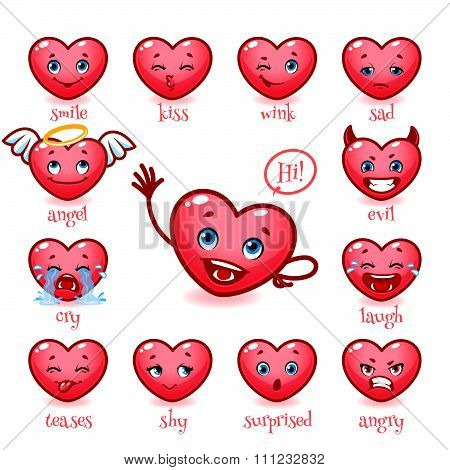 Set Of Emoticons Funny Heart. Smile, Kiss, Wink, Sad, Evil, Cry, Laugh, Teases, Shy, Surprised, Angr