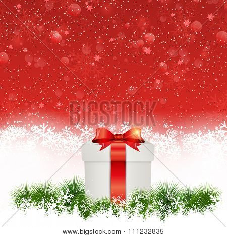 Christmas background with gift nestled in snow