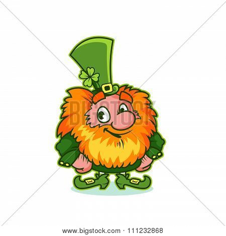 Smiling Leprechaun In Green Costume.