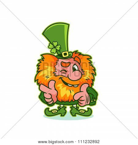 Winking Leprechaun In Green Costume.