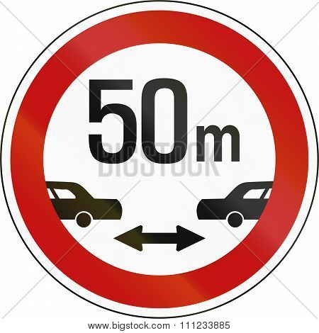South Korean Regulatory Road Sign - Minimum Safe Driving Distance Between Vehicles