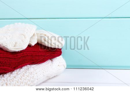 stack of clothes from knitted