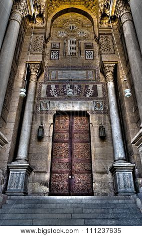 CAIRO, EGYPT - March 22: Ornamented Wooden Door Of Al-Rifai Mosque. An Old Mosque In Old Cairo, Egyp