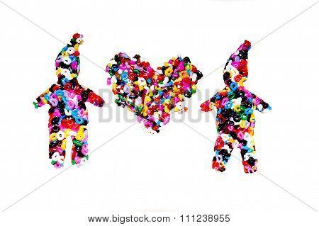 heart between figures of little men