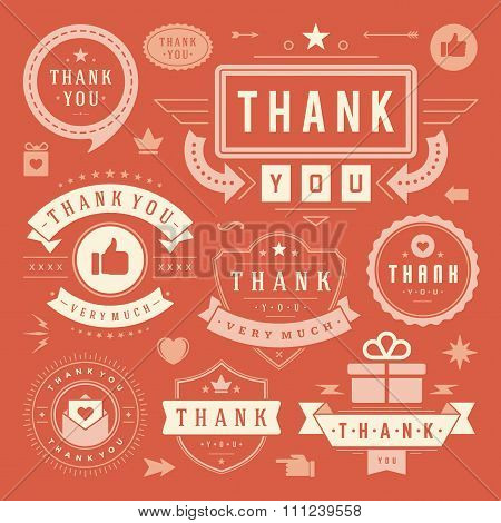 Thank You Labels and Badges typography design elements set