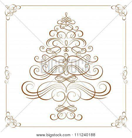 Calligraphy Christmas tree. Vector
