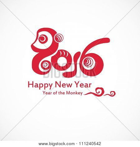 2016 Happy New Year greeting card - the year of monkey