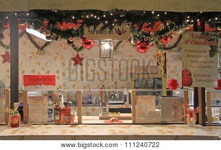 one of kiosks on the Christmas fair in Verona