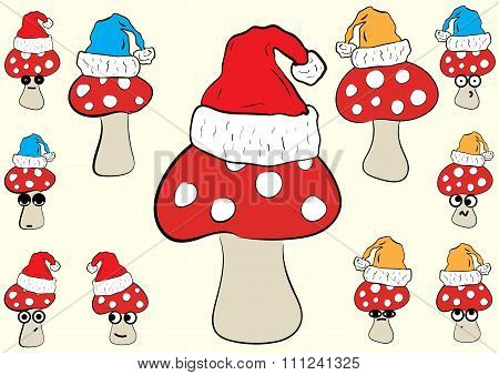 Christmas fly agarics