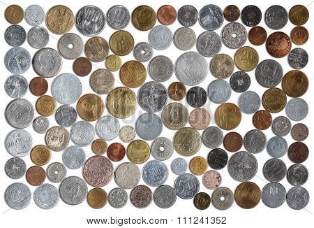 Romanian Coins Collection On White Background