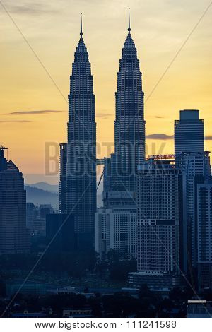 Kuala Lumpur, Malaysia : December 15,2015 - Beautiful View Of Petronas Twin Tower During Sunrise, Th