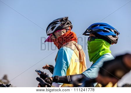 CHIANGMAI,THAILAND - DEC 11: Bike for Dad activity in Father Day on December 11th  2015 in Chiangmai.Thai people ride bicycle to celebrate the Father day every year.