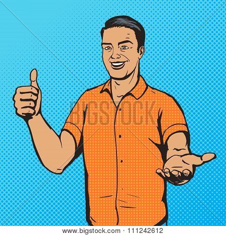Man shows thumb gesture pop art vector