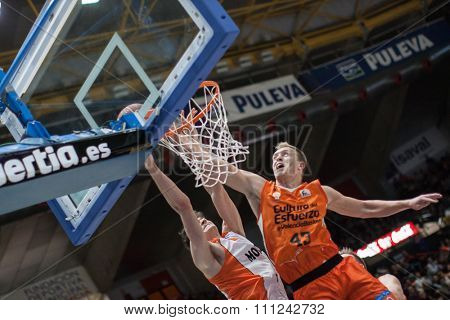 VALENCIA, SPAIN - DECEMBER 12th: Gonzalez (L), Sikma (R) during Spanish League between Valencia Basket Club and Montakit Fuenlabrada at Fonteta Stadium on December 12, 2015 in Valencia, Spain