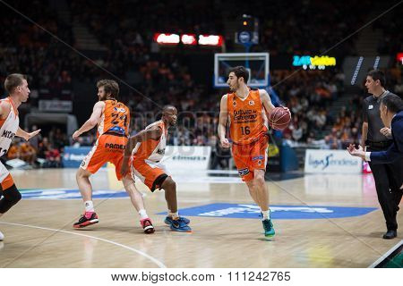 VALENCIA, SPAIN - DECEMBER 12th: Vives with ball during Spanish League between Valencia Basket Club and Montakit Fuenlabrada at Fonteta Stadium on December 12, 2015 in Valencia, Spain