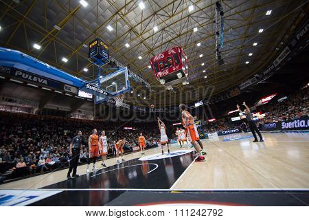 VALENCIA, SPAIN - DECEMBER 12th: players during Spanish League between Valencia Basket Club and Montakit Fuenlabrada at Fonteta Stadium on December 12, 2015 in Valencia, Spain