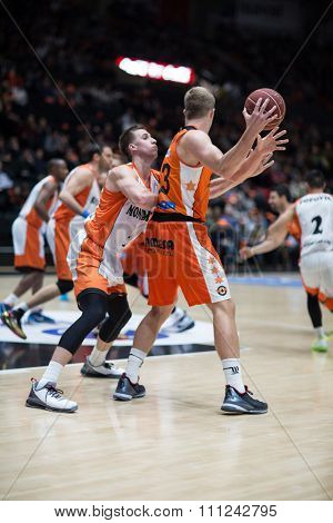 VALENCIA, SPAIN - DECEMBER 12th: Sikma with ball during Spanish League between Valencia Basket Club and Montakit Fuenlabrada at Fonteta Stadium on December 12, 2015 in Valencia, Spain