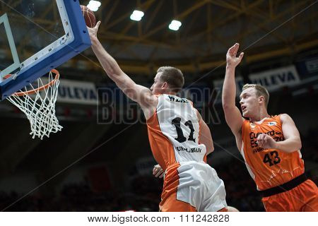 VALENCIA, SPAIN - DECEMBER 12th: Wear (11) Sikma (43) during Spanish League between Valencia Basket Club and Montakit Fuenlabrada at Fonteta Stadium on December 12, 2015 in Valencia, Spain