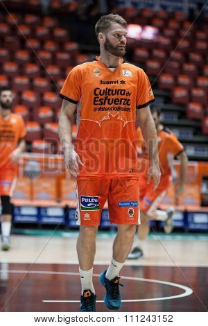 VALENCIA, SPAIN - DECEMBER 12th: Stefansson during Spanish League between Valencia Basket Club and Montakit Fuenlabrada at Fonteta Stadium on December 12, 2015 in Valencia, Spain