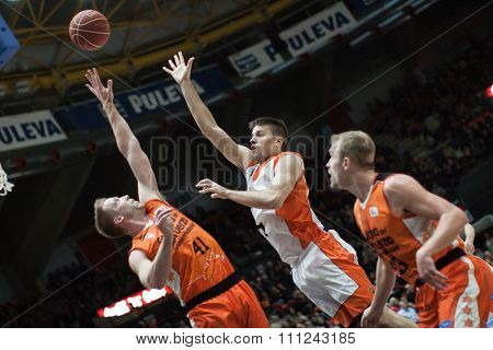 VALENCIA, SPAIN - DECEMBER 12th: Hamilton (L), Stevic (C), Sikma (R) during match between Valencia Basket Club and Montakit Fuenlabrada at Fonteta Stadium on December 12, 2015 in Valencia, Spain