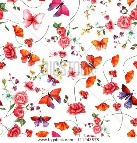 Vintage style watercolour rose and butterflies seamless background pattern
