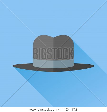 Gangster hat with a wide brim flat icon