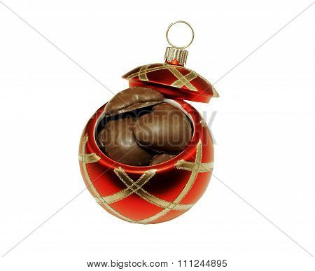 Open Christmas Ball with Gingerbread Cookies