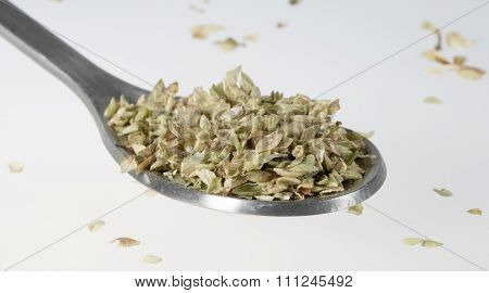 Dried Oregano On Tablespoon