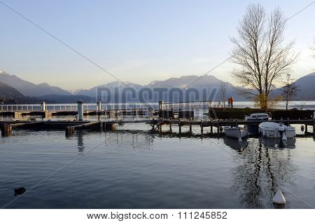 Marina And Annecy Lake Landscape In France