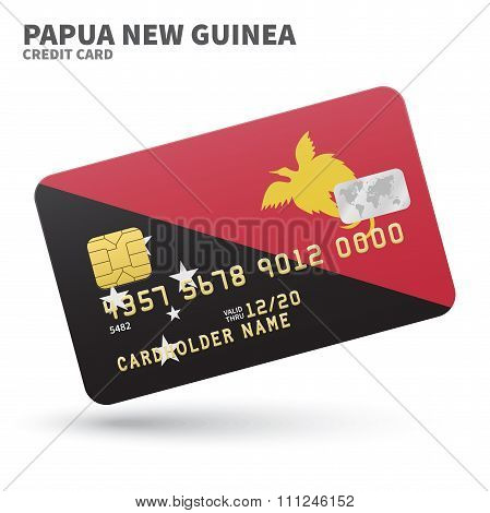 Credit card with Papua New Guinea flag background for bank, presentations and business. Isolated on