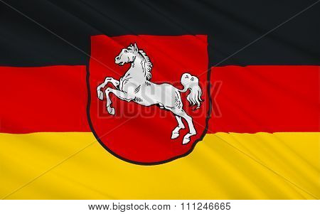 Flag Of Lower Saxony Is A German State Situated In Northwestern Germany