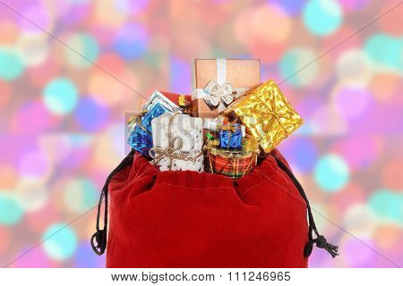 closeup of santa claus bag