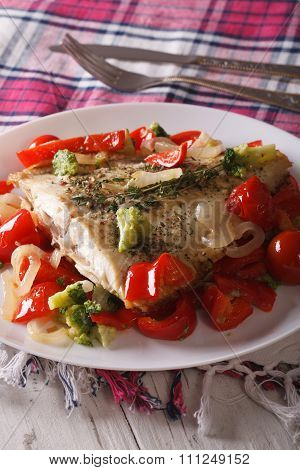 Baked Flounder With Peppers And Broccoli Close-up. Vertical