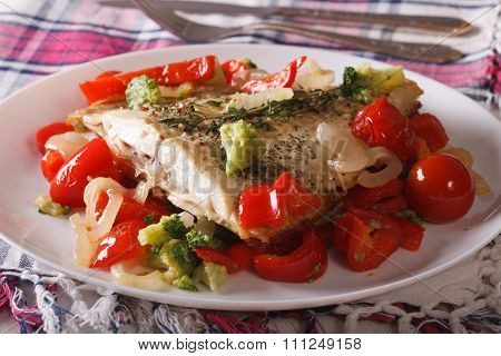 Baked Flounder With Peppers And Broccoli Close-up. Horizontal