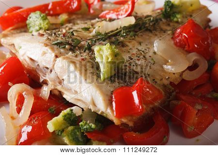 Baked Flatfish With Vegetables Macro On A White Plate. Horizontal