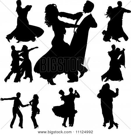 dancing couples silhouettes collection